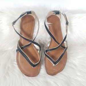 Merona | Black Strappy Flat Ankle Buckle Sandals